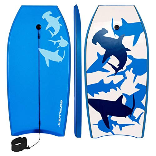 Goplus 41 inch Super Bodyboard Body Board EPS Core, IXPE Deck, HDPE Slick Bottom with Leash, Light Weight Perfect Surfing...