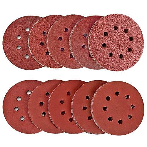 100 Stück Schleifscheiben Klett-Schleifpapier 125 mm Rundes Schleifpapier für Exzenterschleifer Zehn verschiedene Ebenen von Körnung acht Löcher 40/60/80/100/150/180/240/320/400/600 Schleifpapier