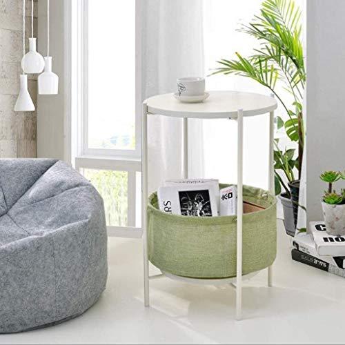 Hermosamente Mesilla Tabla Final Mesas auxiliares mesa auxiliar de 2 capas Mesa for sofá, mesa de centro de almacenamiento en rack redonda de madera maciza mesa de té, cesta del almacenaje de las Tabl