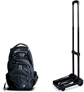 LIMEI-ZEN Portable Folding Trolley, 35 kg Heavy Duty 4 Wheel Solid Structure Utility Trolley, Luggage, Personal, Travel, c...