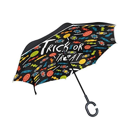 Paraguas invertido de doble capa para Halloween, impermeable, resistente al viento, grande, de poliéster recto para sol y lluvia al aire libre con mango en forma de C