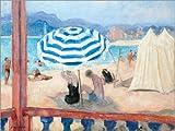 Poster 40 x 30 cm: Cannes, Blauer Sonnenschirm und Zelte