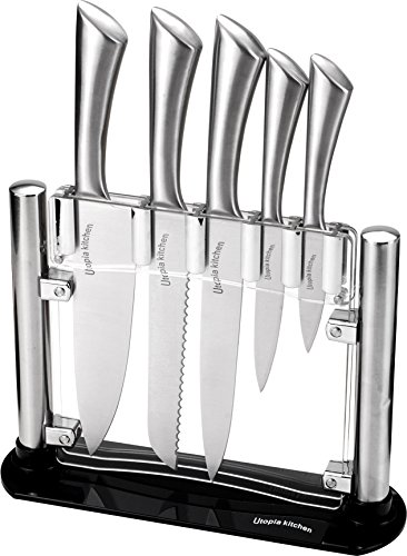 Utopia Kitchen Knife Set with Block - Cooking Knife Set 5 Pieces Stainless Steel...