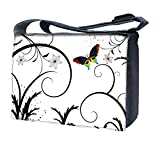 Luxburg® Design Messenger Bag, Umhängetasche für 17Laptop mit Schultergurt, Schmetterling & weiß Blumen