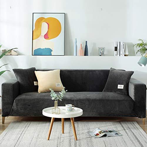 Easy Fit Sofaüberwürfe Couch Slipcover Für Wohnzimmer,Dick Sofa-abdeckungen Für 1 2 3 4 Sitzer,Elastische Reine Farbe Sofa-Protektor Grau 4-sitzer/235-300cm