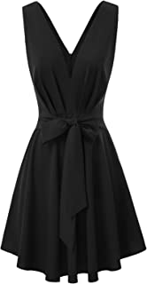 Women Belted Tie Front Ruched Casual V Neck A-Line Swing Dress