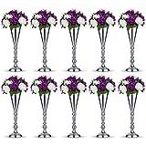 Nuptio 10 Pcs Tabletop Silver Metal Wedding Flower Trumpet Vase Table Decorative Centerpiece Artificial Flower Arrangements for Anniversary Ceremony Party Birthday Event Home Decoration (Silver)