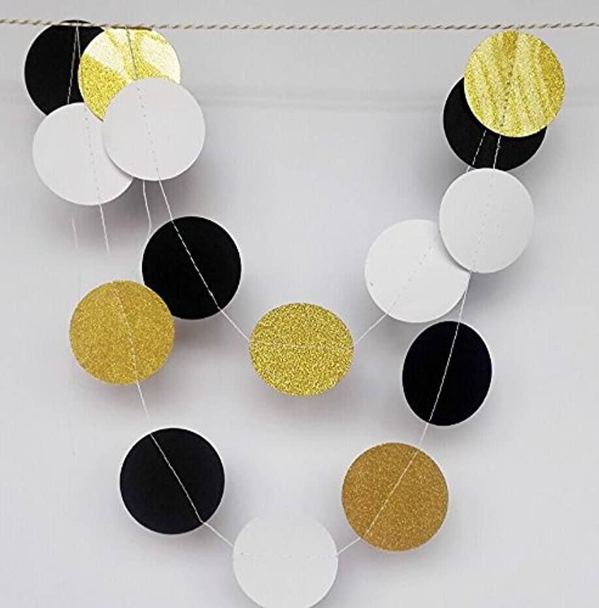 Fascola Paper Garland, 5 Pack 50ft Glitter Paper Garland Circle Dots Hanging Decor, Paper Banner for Baby Shower, Birthday, Nursery Party Decor (Circle Polka Dots - Black White Gold)