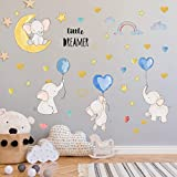 Colorful Balloon Flying Animals Wall Decals, Cute Elephant Love Hearts and Stars Wall Stickers, LINYAPRY Removable Peel and Stick Cartoon Neutral Vinyl Wall Decor for Kids Nursery Bedroom Living Room