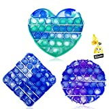 3PC Pop Bubble Fidget Sensory Toy ,a Special Multi Shaped High Grade Soft Silicone Extrusion Toy Suitable for All Ages,Stress Relief and Anti-Anxiety Toy for Kids and Adults(Blue &Green &Purple )
