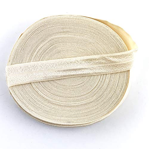 Worlds Fold Over Elastic for Hair Ties DIY Crafts,Baby Girl Head Bow 10 Yards 5/8'Inch (Cream)