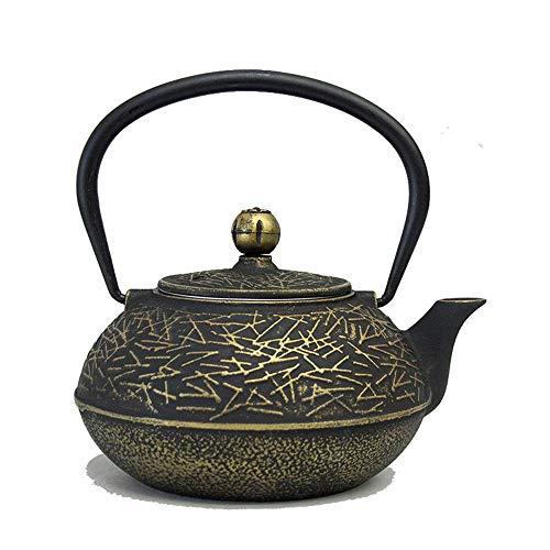 Tetera de hierro fundido Tetera de hierro fundido Tetera de estilo retro japonés Elaboración de té suelto Trilladora Tetera de hierro fundido Tetera de hierro fundido 900 Ml para té verde o