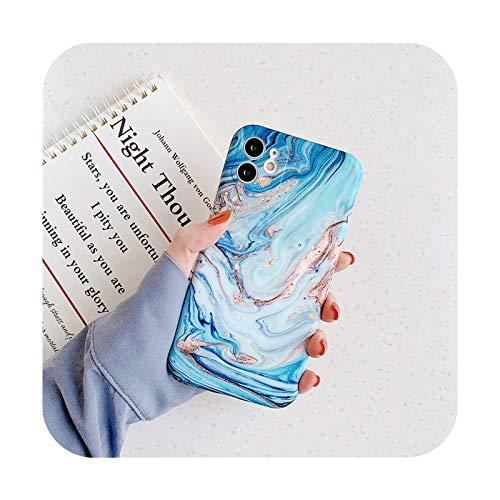 KASHINO Funda de teléfono de piedra de textura de mármol mate para iPhone 11 Pro Max 12 Pro 12Mini X XR XS Max 7 8 Plus suave IMD contraporta-IU0615-para iPhone 7 Plus