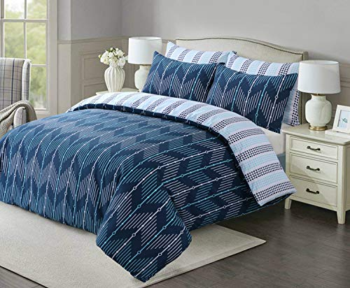 Linen Zone Easy Care Printed Reversible Duvet Cover Set Soft & Durable (Ziggy Blue, Double)