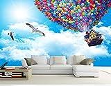 Gran mural papel tapiz papel tapiz tema hotel paquete ktv habitación vuelo global globo cielo azul nubes blancas cielo muralpasta efecto de borde debajo del dormitorio430cm×300cm