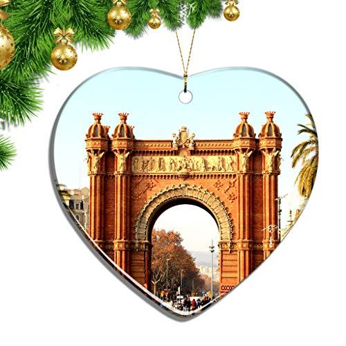 Hqiyaols Ornament España Arco del Triunfo Barcelona Navidad Adornos Colgantes Decoración Pieza Cerámica Forma Corazón Recuerdo Ciudad Viaje Regalo