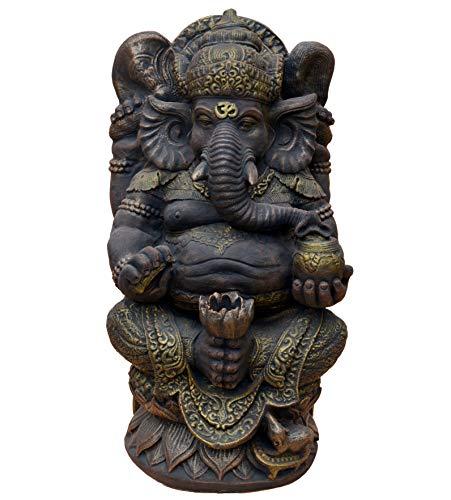 gartendekoparadies.de Massive große Ganesha - der Göttliche Statue Hinduismus Gott aus Steinguss frostfest (Gold)