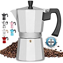 MAKES GREAT TASTING COFFEE Classic Italian moka pot notorious for making the best traditional espresso quick & easy. Durable cast aluminum body with pressure valve for higher caffeine extraction and flavor. Depending on bean variety and grind selecti...