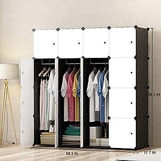 JOISCOPE Armoire Penderie, Meuble de Rangement, Armoire Portable pour Les Chambres, Armoire Modulable en Plastique avec Ti...