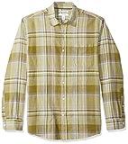 Amazon Essentials - Camicia da uomo a maniche lunghe in lino, a quadretti, vestibilità standard, Olive Plaid, US M (EU M)