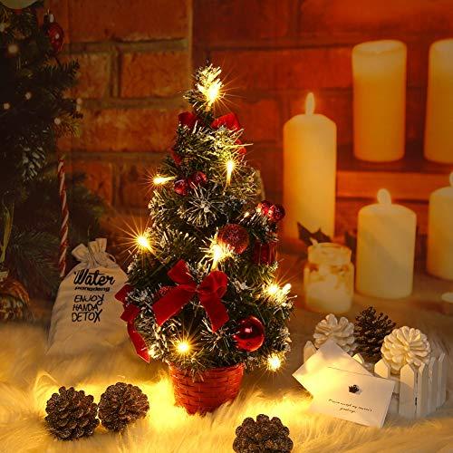 Lucoss Mini Albero di Natale Artificiale, Piccolo Albero di Natale con luci a LED, Mini Decorazione da Tavolo per Albero da Bar Commerciale da 40 cm (Rosso)