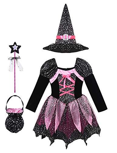 Agoky Mädchen Hexen Kostüm Set Mittelalter Kleid Silber Punkte mit Hut Zauberstab Hexenkessel für Süßigkeiten Halloween Fasching Schwarz 110-116