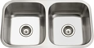 Houzer STD-2100-1 Eston Series Undermount Stainless Steel 50/50 Double Bowl Kitchen Sink, 18 Gauge