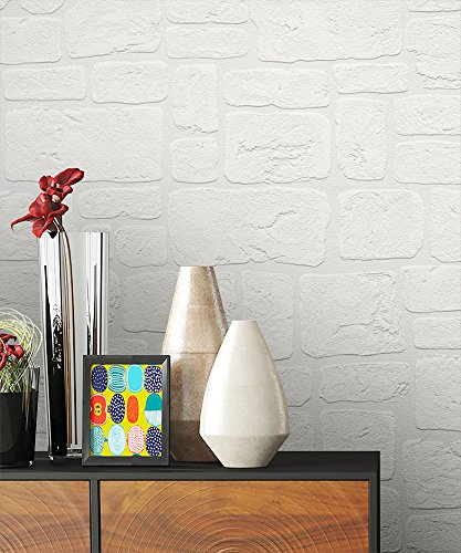 NEWROOM Steintapete Tapete Weiß Mauer Stein Modern Papiertapete Papier moderne Design 3D Optik Steintapete Ziegelstein Backstein Mauerwerk Klinker Loft inkl. Tapezier Ratgeber