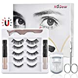 Magnetic Eyelashes with Eyeliner, Upgraded 3D Reusable Magnetic Eyelashes Kit Silk False Lashes Natural Look Come with Applicator, Eyelash Extensions No Glue Needed (5 Pairs with Eyelash Curler)