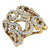 1,27 Ct Tw Fashion banda de diamante de filigrana cóctel Anillo 14 K oro (J, I1)