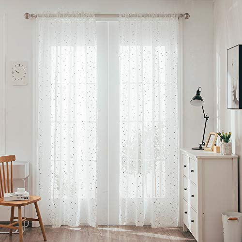 YJ YANJUN Sheer Curtains 96 inches Long with Metallic Silver Leaf Pattern for Living Room, Bedroom, Semi Voile Curtain Rod Pocket 2 Panels W52 x L96 Inches