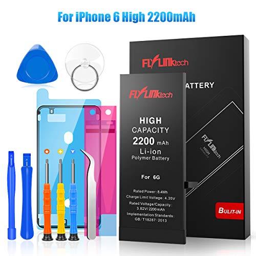 Akku für iPhone 6 mit Hoher Kapazität, 2200mAh Ersatzakku für iPhone 6 Li-Ion Interner Batterie, Reparaturset mit Anleitung & Ersatz Klebestreifen Set, Funktioniert mit alle original APN