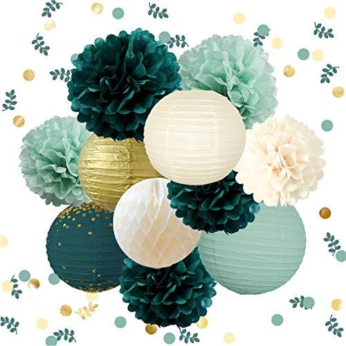 NICROLANDEE Hochzeits-Party-Dekorationen – 12 grüne Pompons zum Aufhängen aus Seidenpapier, Goldfolie, Punkte, Papierlaterne, Konfetti für rustikalen Stil, Brautparty, Geburtstag, botanische Babyparty