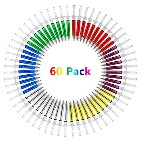 SunAngel Multi-Color Syringe Pen Writes In Blue Or Black Ink, For Boys And Girls, Imaginary Doctor Play, School Supplies (red,yellow,blue,green,white,purple, 60PCS)