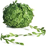 Naidiler 265 Ft Leaf Ribbon, Artificial Vines Leaves String Trim Ribbon Wild Jungle Botanical Greenery for Baby Shower Party Wedding Home Wreaths & DIY Craft