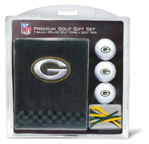 Team Golf NFL Green Bay Packers Gift Set Embroidered Golf Towel, 3 Golf Balls, and 14 Golf Tees 2-3/4