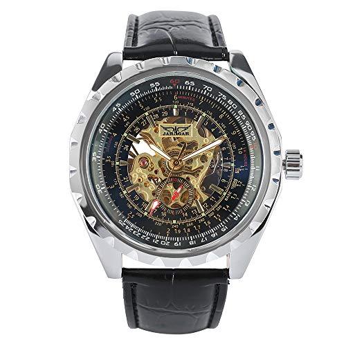 Jaragar - Reloj mecánico automático de cuero de lujo con correa de cuero, regalo para hombres