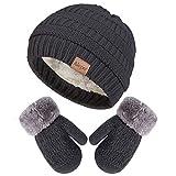 Winter Mittens Gloves Beanie Hat Set for Kids Baby Toddler Children, Knit Thick Warm Fleece Lined Thermal Set for Boy Girl (Dark Gray)