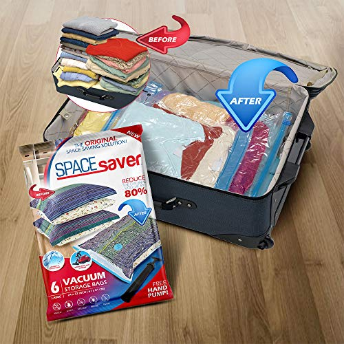 Spacesaver Premium Reusable Vacuum Storage Bags, Save 80% More Storage Space. Double Zip Seal