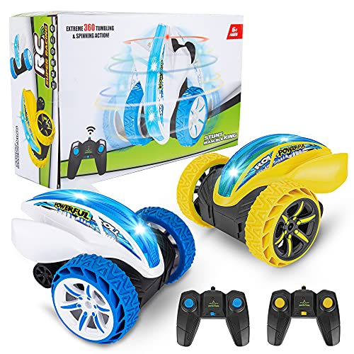 2 Pack Remote Control Car, Acekid 2.4Ghz Off Road RC Stunt Car with Led Lights, 360°Rotating RC Cars Toys for 6 7 8 9 10 11 12 Year Old Boys Girls, 4 Batteries (Yellow+Blue)