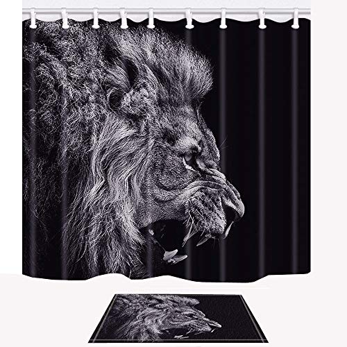 Shocur Lion Head Shower Curtain Set, King of Tropical Forest Animals in Africa, 69 x 70 Inches Polyester Fabric Bathroom Decor with 12 Hooks and Non-Slip 15 x 23 Inches Bath Rug