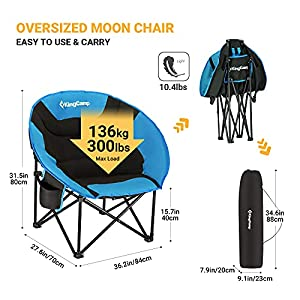 KingCamp Moon Chair Camping Folding Chair 136 kg Weight Capacity