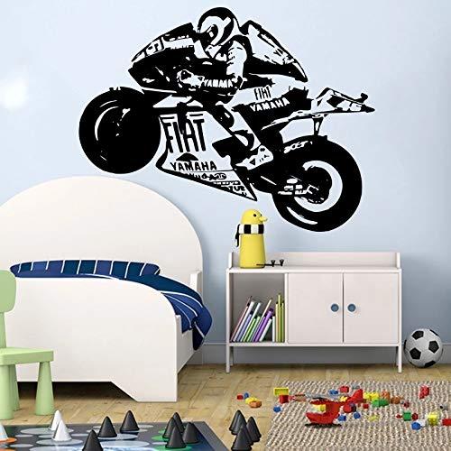 WERWN Motocicleta Motocicleta Deportes Etiqueta de la Pared Motocicleta Scooter Moto Bicicleta Etiqueta de la Pared Habitación de niño Vinilo Familiar Etiqueta de decoración de Dormitorio