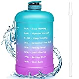 Favofit Gallon Water Bottle with Straw   Premium Motivational Water Bottles with Times to Drink   Reusable BPA-Free Water Jug with Time Marker for Sports Fitness Gym Outdoor   Green/Purple Gradient