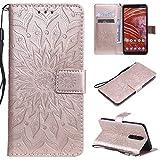 KKEIKO Hülle für Nokia 3.1 Plus, PU Leder Brieftasche Schutzhülle Klapphülle, Sun Blumen Design Stoßfest Handyhülle für Nokia 3.1 Plus - Roségold