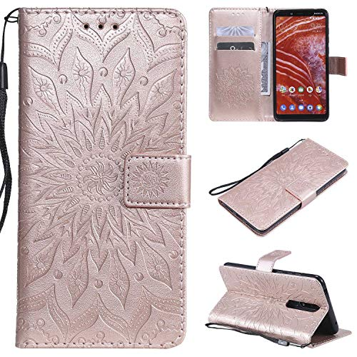 KKEIKO Cover Nokia 3.1 Plus, Nokia 3.1 Plus Magnetico Portafoglio Custodia in PU Pelle, Fiore del Sole Design Antiurto Cover per Nokia 3.1 Plus - Oro Rosa
