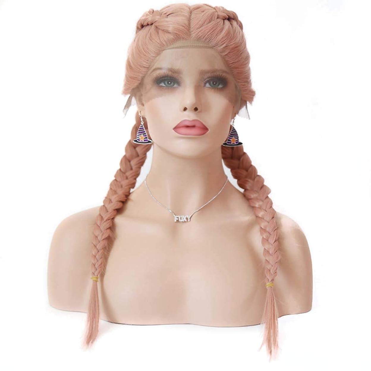 恥ずかしさ価値のない血色の良いJIANFU スコーピオン汚れたウィッグフロントレースウィッグ女性のヨーロッパとアメリカのロングストレートヘアピンクケミカルファイバーヘア (サイズ : 14 inches)
