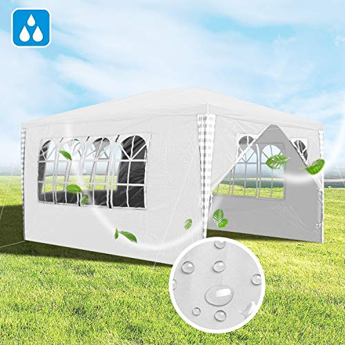 Hengda 3x4m Pavillon Wasserdicht Gartenpavillon weiß Stabiles Partyzelt mit 4 Seitenteile Material PE-Plane für Garten Festival Party