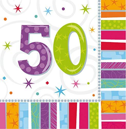 Amscan Geburtstags-Servietten 50 Jahre, 16 Stück