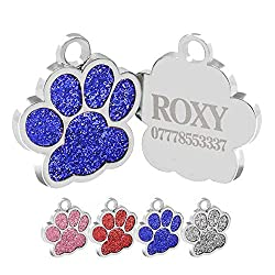 Size: 2.5cm*2.5cm, cute and fit most dog and cat breeds. Paw shape filled with bling painting in different colours, adorable and pretty. Easy to attach to your pet's collar, harness and leash for identification. Custom laser engraved for you, up to 4...